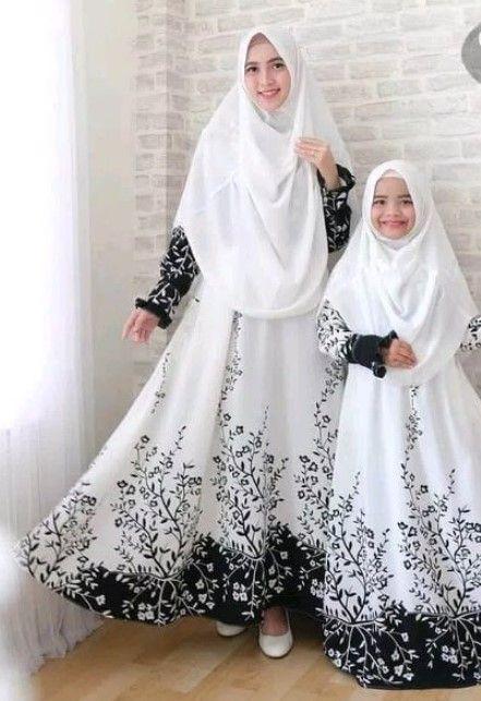 Model Baju Gamis Couple Ibu Dan Anak Terbaru Motif Bunga Hitam Putih