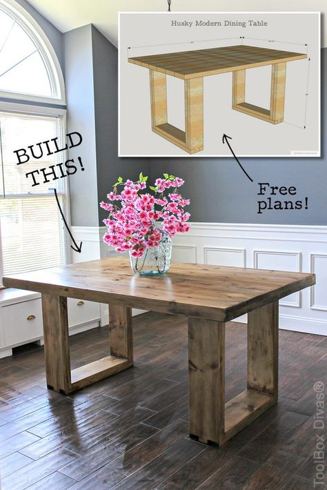 How to build a chunky modern dining table. Free plans by Jen Woodhouse room table diy DIY Husky Modern Dining Table Diy Furniture Projects, Diy Wood Projects, Furniture Makeover, Modern Furniture, Rustic Furniture, Furniture Nyc, Farmhouse Furniture, Diy Projects Bedroom Decor, Furniture Stores