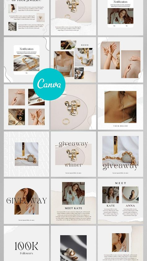 150 Jewelry Instagram Post&Stories Templates, Pin Templates