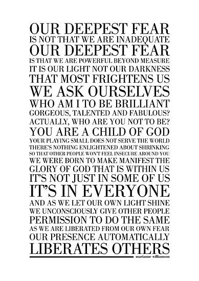 Our Deepest Fear By Marianne Williamson Black Photographic Print By Typographytales In 2020 Marianne Williamson Quote Fear Quotes Our Deepest Fear Quote