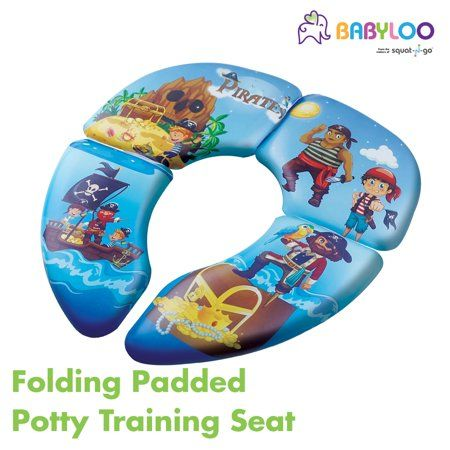 Folding Cushion Toilet Seat With Travel Bag Pirate Pattern Blue