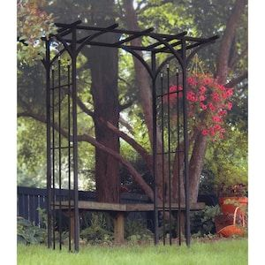 6 3 Ft W X 7 Ft H Black Garden Arbor At Lowes Com Flores