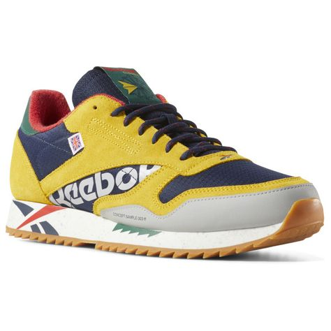 eb3b585f7d61e7 Reebok Unisex Classic Leather Ripple Altered in Yellow   Navy   Red ...