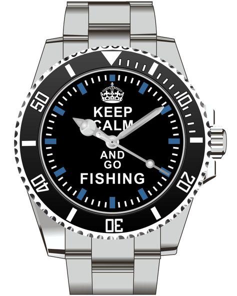 Keep Calm and go Fishing  Watch -Men Watch Jewelry Fishing Gift Present for Men- Watch 1575 von UHR63 auf Etsy