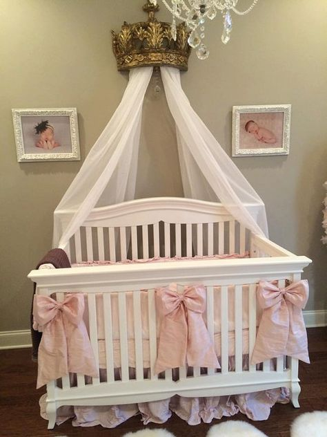 Bow Silk Accents for Cribs, Cradles, Room Decor/Add Flower or Button Accents available in all colors