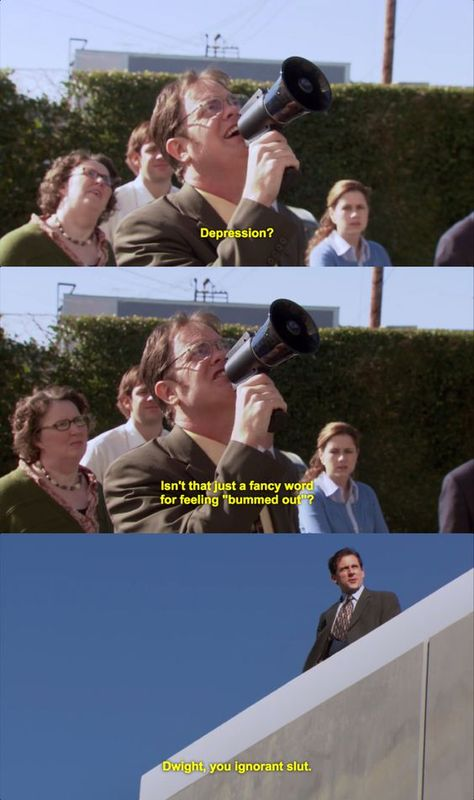 The Office on NBC. Isn't that just a fancy word for feeling 'bummed out'? Dwight, you ignorant slut. Starring Steve Carell as Michael Scott, John Krasinski as Jim Halpern, Jenna Fischer as Pam Beesly, and Rainn Wilson as Dwight K. The Office Show, The Office Dwight, Office Tv, Office Jokes, Funny Office, Tv Quotes, Look At You, My Guy, Just For Laughs