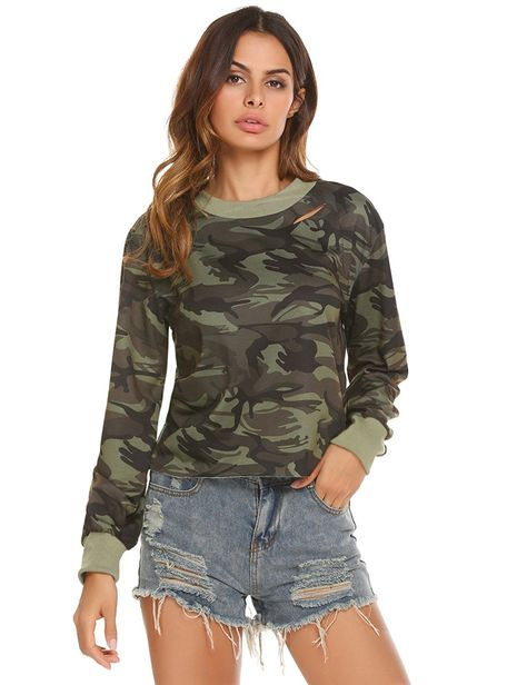 Shop Women's Spring Long Sleeve Camo Print Distressed Crop T-Shirt - Army Green - and Discover the latest fashion and trends in Women's Button-Down Shirts at Affordable Price.