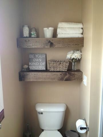 Use Same Rustic Chunky Wood For Floating Counter Storage Shelves In Bathroom 2 And Floating Shel Diy Shelves Easy Wooden Floating Shelves Floating Shelves Diy