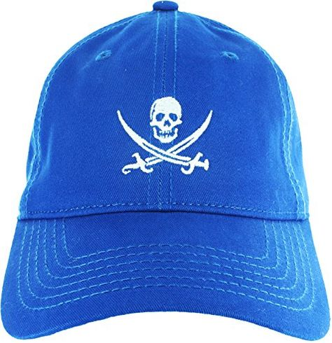 10cbc5c4e Dad Hat Cap - Jolly Roger Embroidered Adjustable Blue Bas…