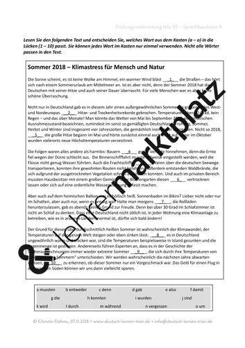 B2 Telc Sprachbausteine Ii Sommer 2018 Unterrichtsmaterial Im Fach Daz Daf Deutsch Lernen Daf Daz Arbeitsblatter Sprache