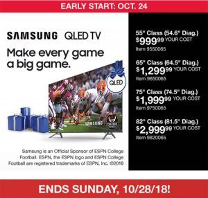 Samsung QLED TVs in Costco  starts today 10/24 and ends