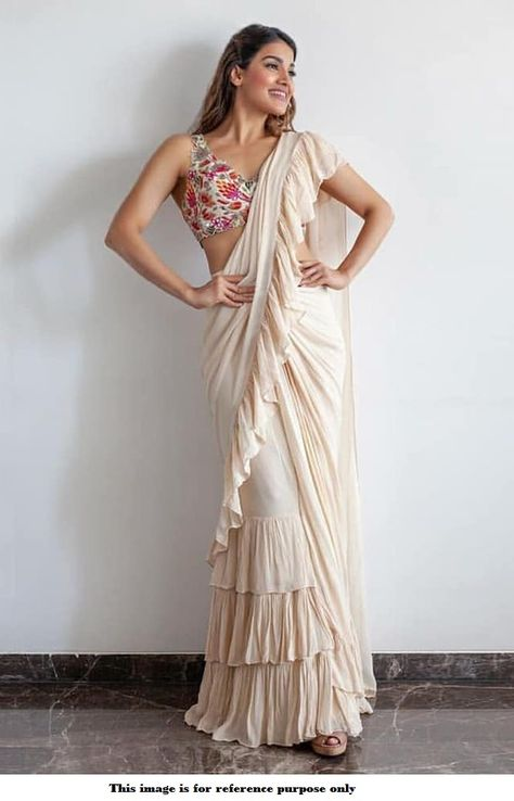 Buy Bollywood model Off white georgette ruffle saree in UK, USA and Canada