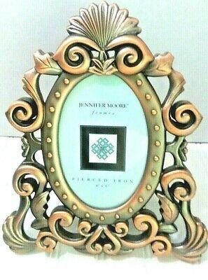 "Green Pierced Metal Frame with Jewels 4/"" x 6/"""