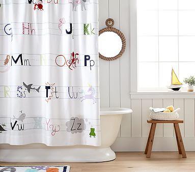 Abc Shower Curtain Kid Bathroom Decor Boys Shower Curtain
