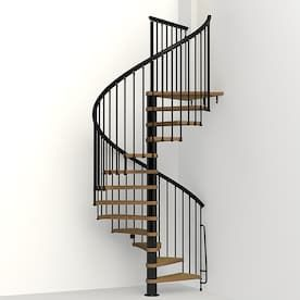Dolle Calgary 47 In X 9 2 Ft Black Spiral Staircase Kit At Lowes   12 Ft Spiral Staircase   Stair Treads   Steel   Mylen Stairs   Staircase Kit   Stair Kit