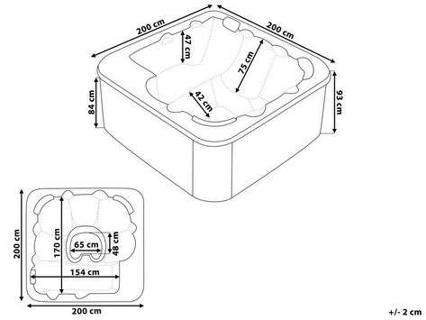 Square Hot Tub with LED White