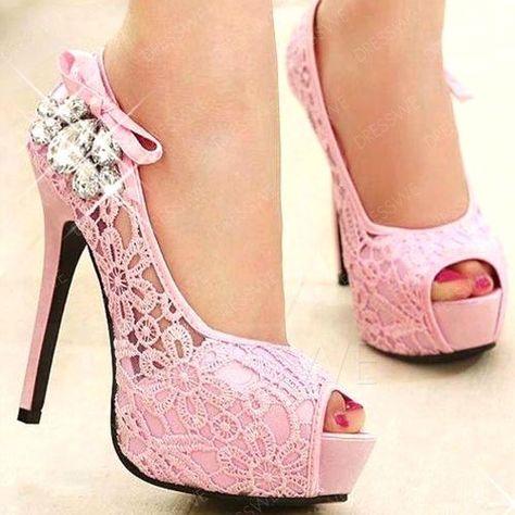 Dresswe.com SUPPLIES Fashion Rhinestone Net Peep-Toe Platform Prom Shoes Prom Shoes (6)