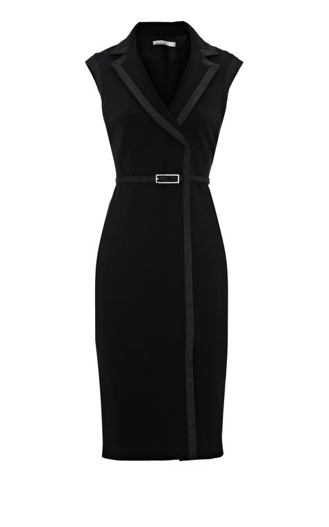 Black Contrast trim pencil dress by Karen Millen. So elegant! Office Fashion, Business Fashion, Work Fashion, Fashion 2018, Spring Fashion, Fashion Trends, Karen Millen, Business Dresses, Mode Hijab