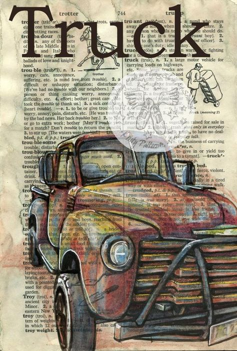 6 x 9 Print of Original, Mixed Media Drawing on Distressed, Dictionary Page This drawing of a 1955 Chevy Pickup Truck is drawn in sepia ink and created with pastel and colored pencils on a distressed page from a dictionary that includes the definition Truck.