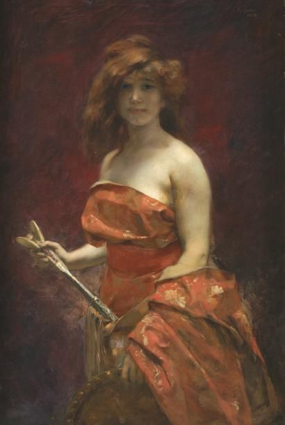 Victor Prouvé, Autoportrait à l'atelier, 1885. Huile sur toile