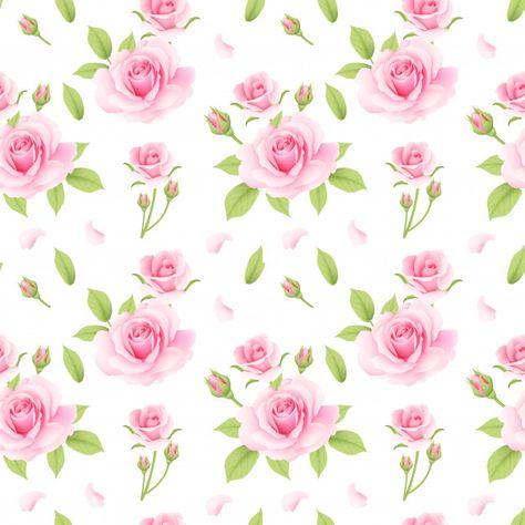 Padrao Rosa Rosas Sem Emenda Em 2020 Rosas Rosa Vetor E Padrinhos