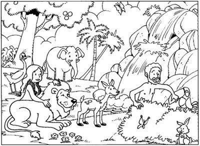 Desenhos Biblicos Para Colorir Do Jardim Do Eden Com Imagens