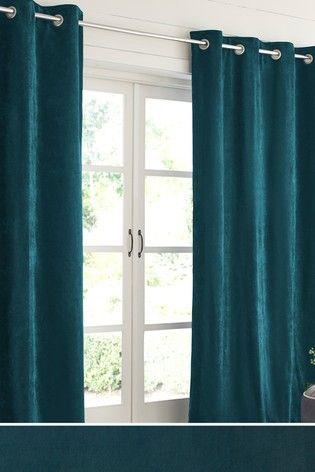 Juniper Soft Velour Curtains | Curtains, Teal bedroom ...