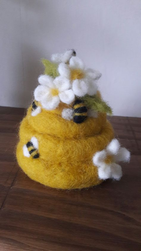 Needle felt beautiful bees and blossom