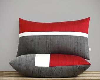 Fuchsia Silk Colorblock Pillow Cover in