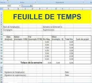 Feuille De Temps Employé Excel Genie Civil Planning