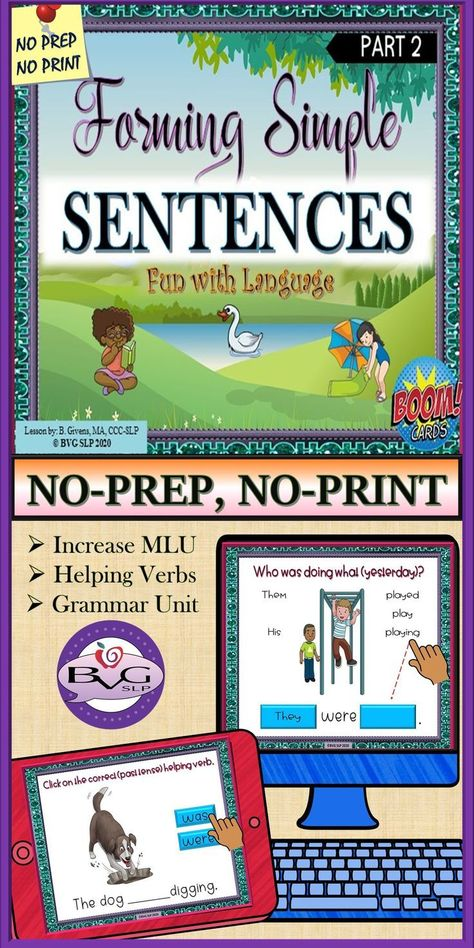 Forming Simple Sentences PART 2 | Helping Verb Grammar BOOM CARDS Teletherapy
