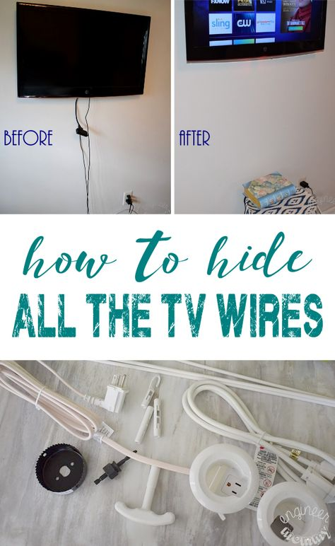 Hanging a Flat Screen on Wall: How to Hide All Wires – Engineer Mommy Tired of seeing those TV wires? Check out this simple solution to get those wires hidden inside the wall! Hiding Tv Cords On Wall, Hide Tv Wires, Hide Cables On Wall, Hiding Wires Mounted Tv, Hide Electrical Cords, Hide Cable Cords, Hide Cable Box, Kit Homes, Tv Escondida