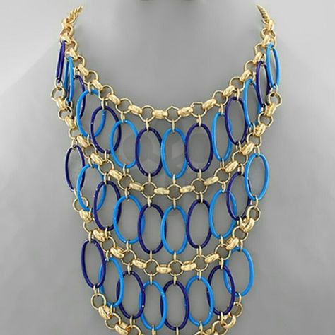 """Statement Necklace Bib Necklace. Epoxy. Metal. Lobster Clasp.  14""""L . Center 5""""L . Post Earrings 3/4""""L Jewelry Necklaces"""