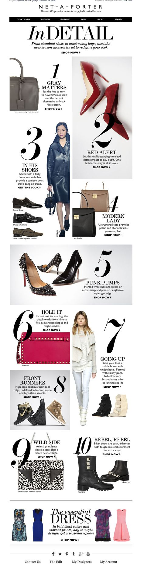 #newsletter Net a porter 08.2013 subject:  Perfect 10: The ultimate new-season shoe and bag edit