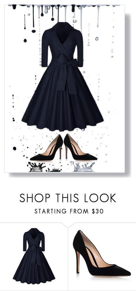 """dress for funeral"" by newbee3 ❤ liked on Polyvore featuring Gianvito Rossi"