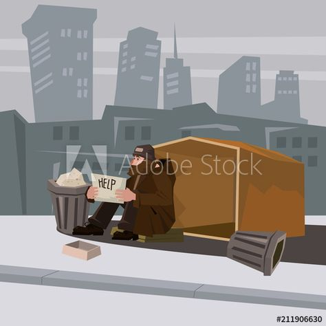 Set Of Homeless People Work Cartoons Homeless People Illustration