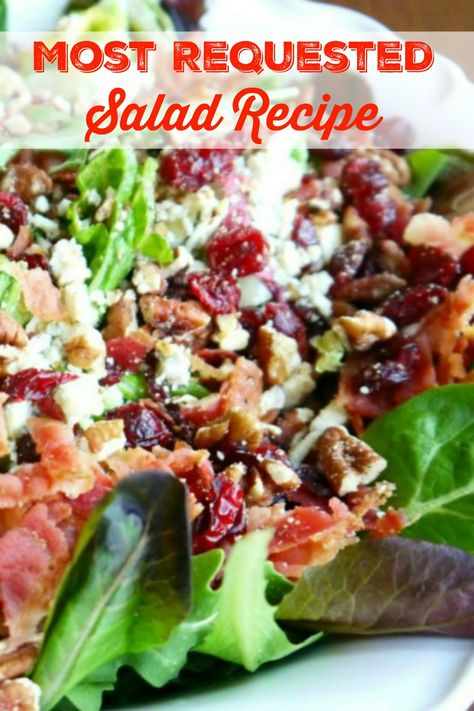 My Most Requested Recipe ~ Gorgonzola, Apple, Cherries, Pecans & Bacon Salad with a Sweet Balsamic Dressing! Most Requested Salad Recipe Spring Salad, Summer Salads, Fall Salad, Salads For Lunch, Dinner Salads, Clean Eating, Healthy Eating, Bacon Salad, Bacon Dip
