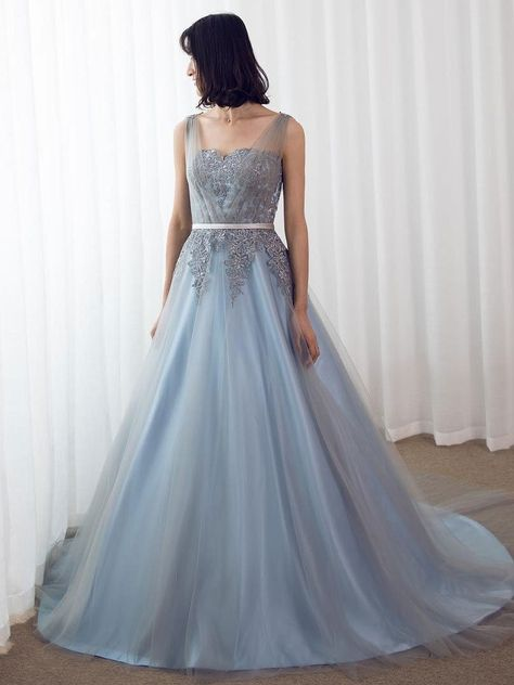0cf7e18b2f7 Sky Blue Formal Prom Dresses Long Lace Appliqued Gray Tulle Cheap ...