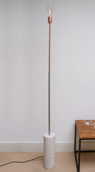 Copper Concrete Floor Lamp Straight Yer Lambasi Aydinlatma