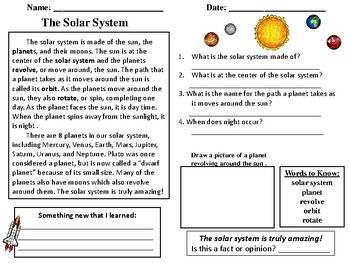 Free Sample From Solar System Reading Comprehension Passages Includes Reading Pass Comprehension Passage Reading Comprehension Passages Reading Comprehension