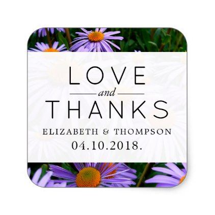 Thank You Aster Flowers Blossoms Purple Square Sticker Purple Floral Style Gifts Flower Flowers Diy Cu Wedding Stickers Labels Orange Square Aster Flower