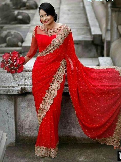 ₹1,200/- Red Color Georrgte Fabric with multy Work Saree