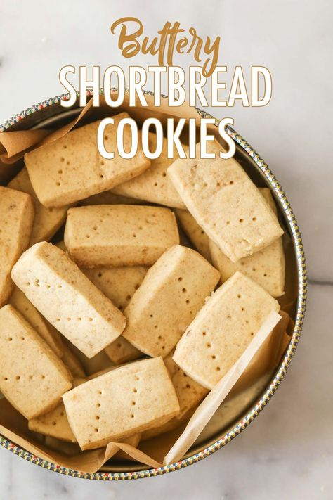 These exceptional Buttery Shortbread Cookies only have three simple ingredients and are pretty much foolproof! #shortbreadcookies #threeingredients #bakingwithkids #shortbread #cookies #dessert #snacks