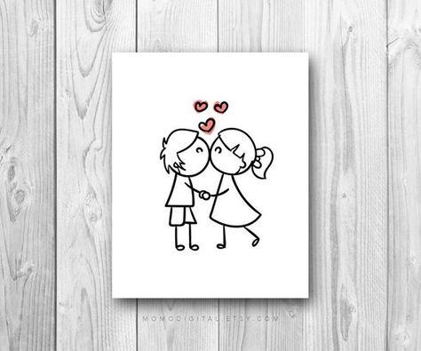 SALE -  Cartoon Kiss, Couple Kiss, Love Kiss, Love Print, Love Illustration, Couple Illustration, We