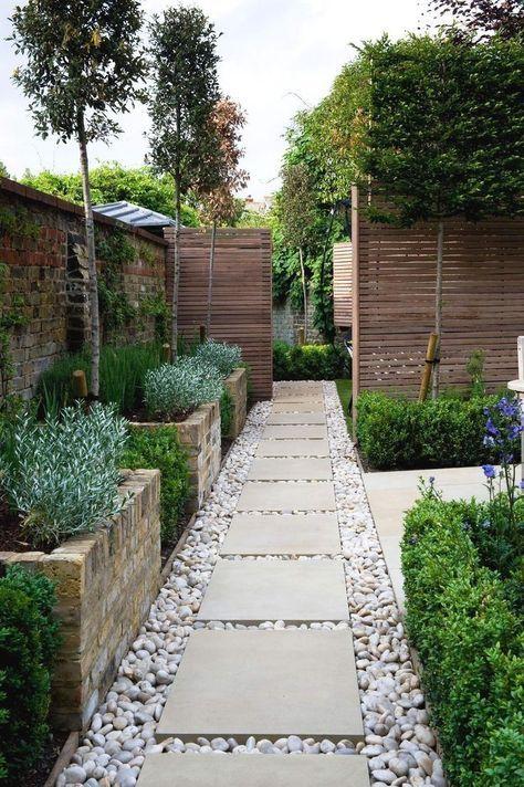Allee De Jardin Moderne Avec Buis Dalles Carrees Et Gallets Paysagiste Jardins Et Amenagement Paysager