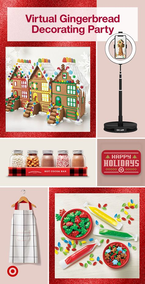 Reimagine family Christmas traditions with a virtual gingerbread house decorating competition. Find templates, crafts, candies  more ideas to plan a fun event.