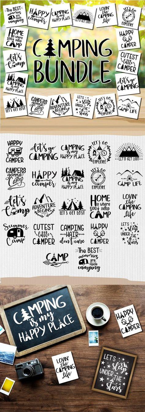 Camper SVG - Happy Camper SVG - Camping SVG - Camping Bundle - Camping clipart - Camper Life - Adventure svg - Cricut - Silhouette cut files