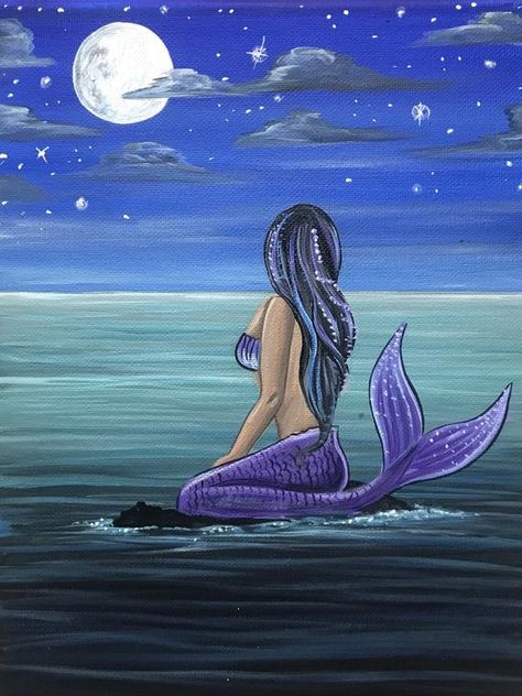 Mermaid Canvas, Mermaid Wall Art, Mermaid Drawings, Mermaid Paintings, Drawings Of Mermaids, Fantasy Mermaids, Real Mermaids, Little Mermaid Costumes, Easy Canvas Art