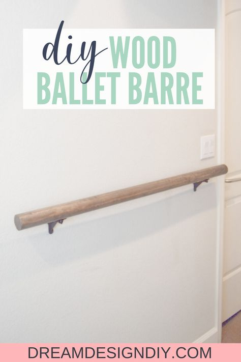 This tutorial shows you how to make and install a wall-mounted wood ballet barre. A ballet barre is a great addition to a home gym Workout Room Decor, Workout Room Home, Gym Decor, Workout Rooms, Home Gym Garage, Diy Home Gym, Best Home Gym, Ballet Room, Ballet Barre