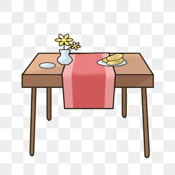 طاولة طعام بني مفرش المائدة الوردي الرسوم التوضيحية الرسوم المتحركة مرسومة باليد الأثاث التوضيح أثاث رائع أثاث جميل طاولة طعام بني Png وملف Psd للتحميل مجانا Art Table Brown Dining Table
